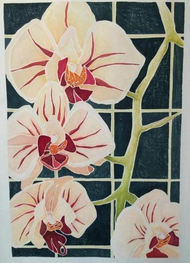 21socalendar - Julie Gray's Andrea's Orchid, white line woodcut, part of a show the Art Complex Museum in Duxbury. (Art Complex Museum)