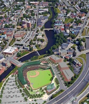 (Credit: Rendering by Daiq Architects ) PawSox ballpark at Slater Mill for 02lucchino -- info from source: Capacity 10,000 (we don't want to get into exact fixed seats yet – but capacity will be approximately 10,000). $73 million is the ballpark cost. The total project is $83 million. $45 from the PawSox (61% of the ballpark construction cost), $23 from the state, and up to $15 from the city (land, infrastructure).