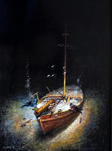 "This painting by Ernie Haas shows an artist's rendition of divers hovering over the Revolutionary War gunboat ""Spitfire"" on the bottom of Vermont's Lake Champlain."