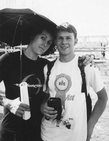 Just Another Scene's Sean Carlson (right) as a teen with Davey Havok, lead singer of California band AFI, at a 2001 concert at Suffolk Downs.