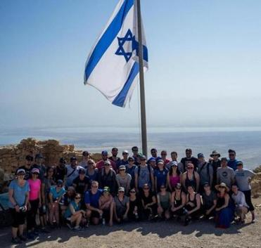 A group photo atop Masada, overlooking the Dead Sea and Jordan.