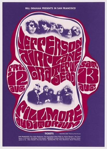Wes Wilson's offset lithograph poster, featuring photos by Herb Greene, for concerts by Jefferson Airplane and the Grateful Dead at San Francisco's Fillmore Auditorium in 1966.