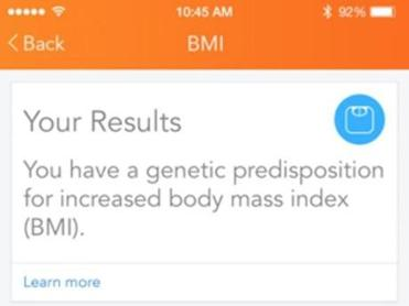 A screenshot from the Lose It app showing information from its embodyDNA test.