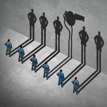 Whistle blower or whistleblower concept as a symbol of a secret informer agent posing as an employee with his cast shadow of a whistle as a metaphor for inside infoermation on misconduct in a 3D illustration style.