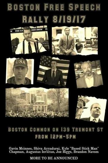 A Boston Free Speech Rally poster on Facebook.