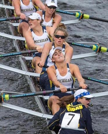 10/19/2014 CAMBRIDGE, MA Michigan competed in the Women's Championship Eights during the 2014 Head of the Charles Regatta (cq). (Aram Boghosian for The Boston Globe)