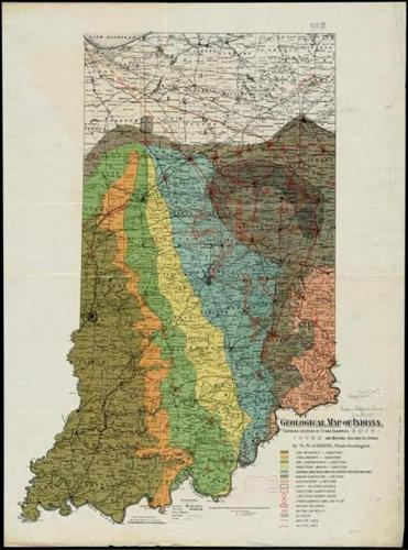 "S.S. Gorby's ""Geological map of Indiana, showing location of stone quarries and natural gas and oil areas,"" c. 1890."