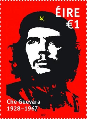HANDOUT EDITORIAL USE ONLY/NO SALES Mandatory Credit: Photo by AN POST/HANDOUT/EPA-EFE/REX/Shutterstock (9124696a) A handout photo made available by the Irish Postal Service, An Post, on 09 October 2017 showing the Irish one euro stamp bearing the image of Ernesto ?Che? Guevara, the left-wing revolutionary based on, Irish, Dublin artist Jim Fitzpatrick?s artwork which has been isssued by An Post in Ireland, on 09 October 2017. An Post state that Ernesto (Che) Guevara de la Serna was born on 14 June 1928 in Rosario, Argentina. Che?s family were prosperous and had aristocratic roots, but had left-wing sympathies. His father was Ernesto Guevara Lynch, a civil engineer of Irish descent. Che studied medicine before travelling around South America, observing conditions that spurred his Marxist beliefs. He assisted Fidel Castro in overturning the Cuban government in the late 1950s, and then held key political offices during Castro?s regime. Engaged in guerrilla action in Bolivia when he was arrested and subsequently executed by the Bolivian army on October 9, 1967. With his death and assisted by the popular Jim Fitzpatrick artwork, Guevara the Marxist revolutionary, went on to become a cultural icon. Ernesto (Che) Guevara de la Serna Irish stamp, Dublin, Ireland - 09 Oct 2017