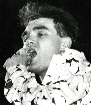 Morrissey performing with the Smiths in Boston in 1985.