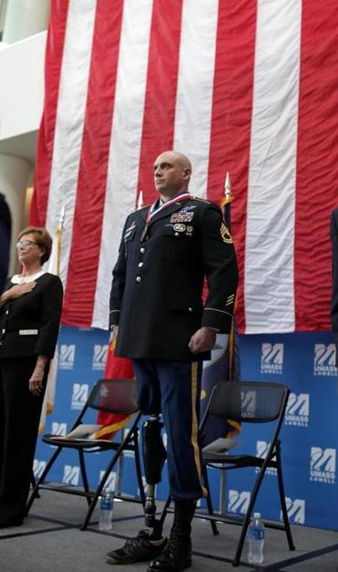 11/02/2017 Lowell Ma - U.S.Army Green Beret Sergeant First Class Nicholas Lavery (cq) was honored at the Umass Lowell 2017 Flag & Veteran's Day Celebration.He and other veterans were reconized for their service. He received a Bachlor's Degree in Criminal Justice from UMass Lowell. Jonathan Wiggs\Globe Staff Reporter:Topic.