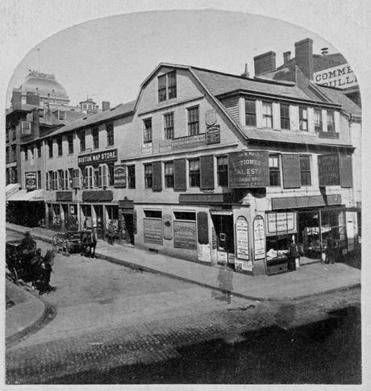An undated photo of the Old Corner Bookstore on the corner