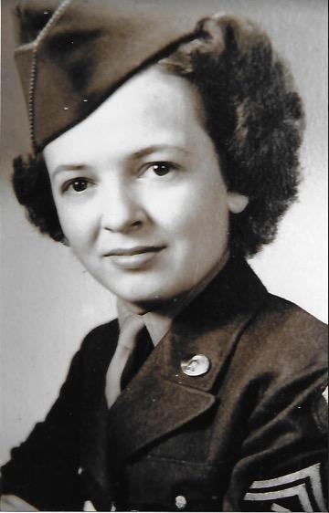 Mildred Roberts from when she served in the Women's Army Corps.