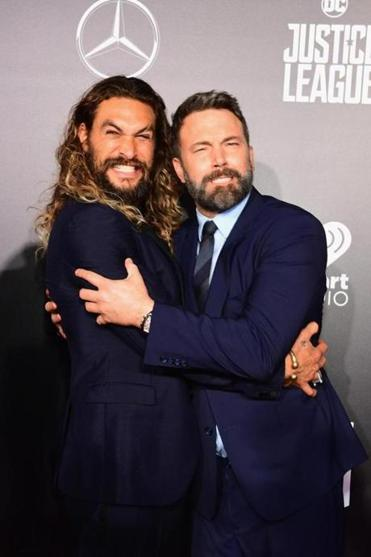 "Actors Jason Momoa (left) and Ben Affleck at the premiere of ""Justice League"" at the Dolby Theatre in Hollywood."
