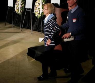 Survivor Joyce Mekelburg attended a ceremony to mark the 75th anniversary of the Cocoanut Grove fire.