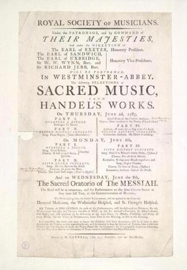 A broadside advertising the 1785 Handel Festival in Westminster Abbey.