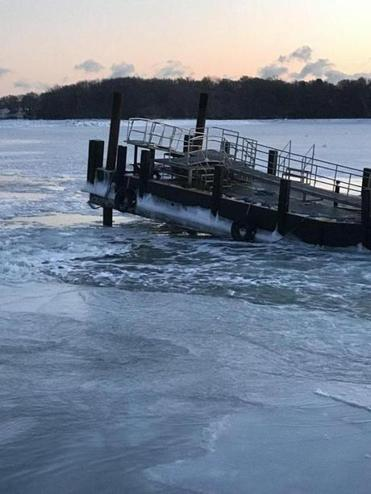 The Hingham Ferry dock has been damaged by ice.
