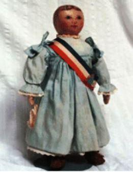 The Miss Columbia doll at the Wenham Museum. (Wenham museum). NOTE: THIS IS VERY SMALL