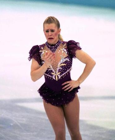 Tonya Harding cries after breaking a lace at the 1994 Winter Olympics.