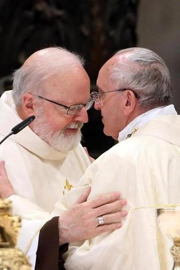 Pope Francis greeted Cardinal O'Malley in 2014.