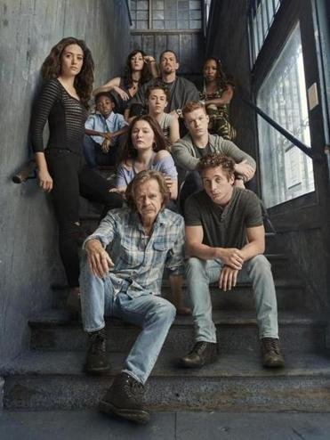 "William H. Macy (front middle) and the cast of Showtime's ""Shameless."""