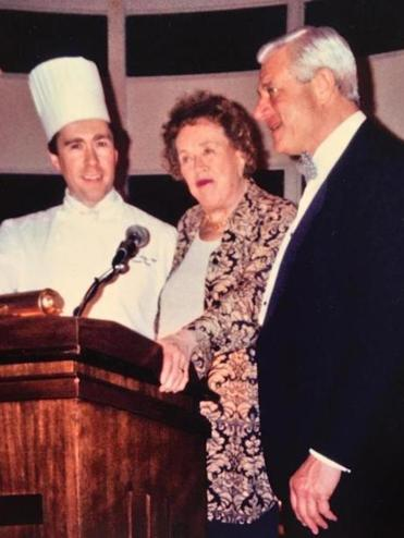 Daniel Bruce (left), Julia Child, and Tom Burgess in 1992.