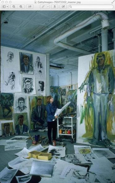 Artist Elaine de Kooning among John F. Kennedy-themed works in an undated photo.
