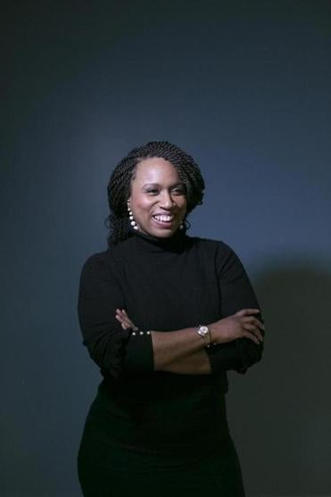 January 30, 2018 - 50 Milk St. CIC City Councilor Ayanna Pressley announced that she is running for Congress today, challenging longtime U.S. Rep. Michael Capuano in the Democratic primary. She stands for a portrait in CIC Metro, 31pressleypic (Katherine Taylor for The Boston Globe)