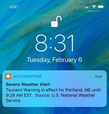 Some on the East Coast got a push alert on their phones about a tsunami warning.
