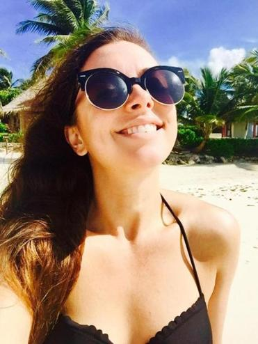 Actress Desi Oakley on the beach in Mexico.