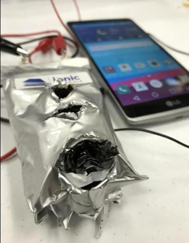 An Ionic Materials battery after it was shot with a bullet. The battery combines the reliability and low cost of alkaline batteries with the power and recharging of lithium ion, but without the safety risks. 09Battery. BUSINESS