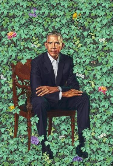 Kehinde Wiley's portrait of former President Obama.