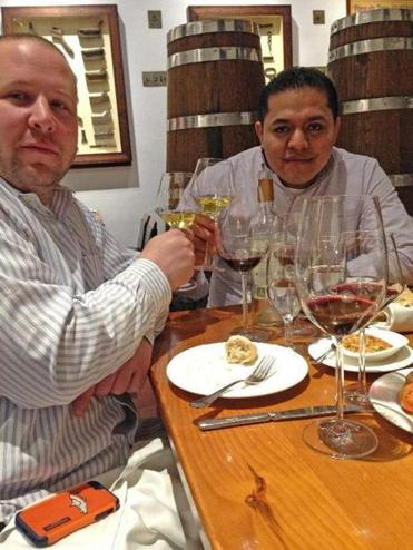 Emilio Garcia (at right) in Barcelona with Connecticut chef Eric Stagl.