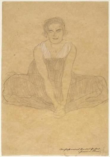 "Gustav Klimt's ""Seated Woman in a Pleated Dress"""
