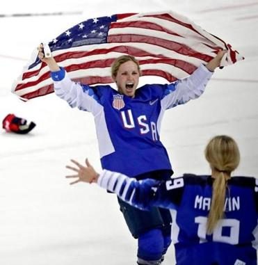 Mandatory Credit: Photo by VALDRIN XHEMAJ/EPA-EFE/REX/Shutterstock (9434536bw) Monique Lamoureux-Morando (facing) and Gigi Marvin of the US celebrate after the US team won the Women's Ice Hockey Gold Medal match between Canada and USA inside the Gangneung Hockey Centre at the PyeongChang Winter Olympic Games 2018, in Gangneung, South Korea, 22 February 2018. Ice Hockey - PyeongChang 2018 Olympic Games, Gangneung, Korea - 22 Feb 2018