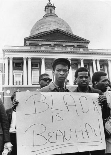 Demonstrators at the State House in Boston, the day after King's assassination.