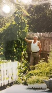 Tony D'Angelo in his garden and in his glory.