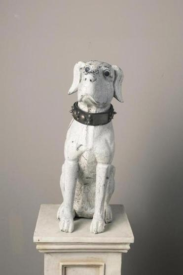 One of the dog sculptures on display at the Museum of Dog in North Adams.