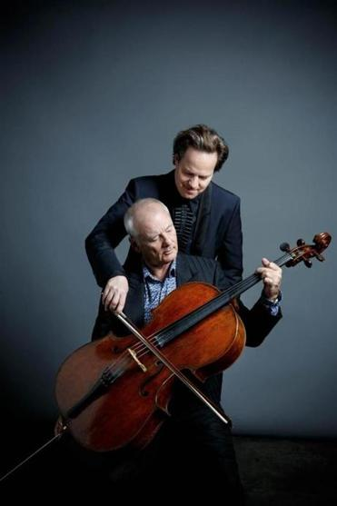 Classical cellist Jan Vogler and actor Bill Murray (seated) will play at the Orpheum and in Worcester this month.