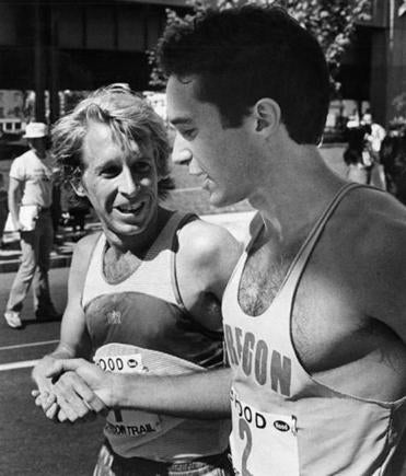 9/16/1979.. Freedom Trail Race - Just after crossing the finish line Bill Rodgers, 2nd, congratulates winner Alberto Salazar. - Bill Rodgers - OPS