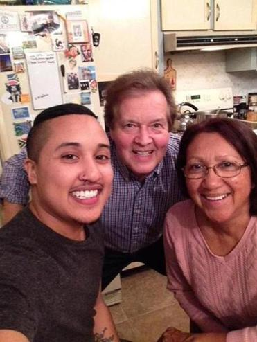Micah, Vernon, and Beryl Domingo at Thanksgiving 2017.