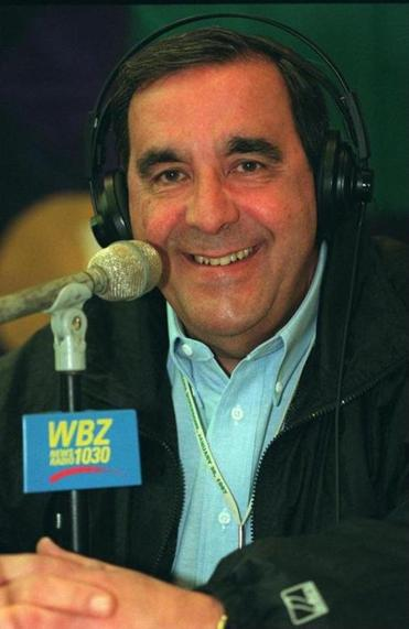 Mr. Santos, shown in 1997, was the Patriots' radio play-by-play announcer for 36 seasons.