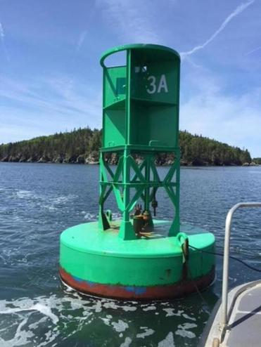 The gong at the Eagle Island buoy was recently stolen, according to the US Coast Guard. Mariners rely on the sounding devices to guide them past hazards.
