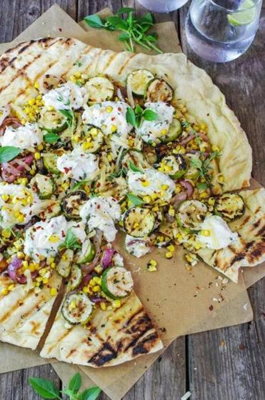 Grilled veggie flatbread with ricotta and honey