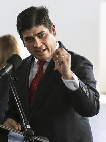 Costa Rican President Carlos Alvarado gives a speech during the ceremony for the swearing-in of the national football team at the Gol Project, in San Antonio de Belen in Heredia, Costa Rica, on June 1, 2018. / AFP PHOTO / Ezequiel BECERRAEZEQUIEL BECERRA/AFP/Getty Images