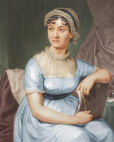 An engraved portrait of Jane Austen.