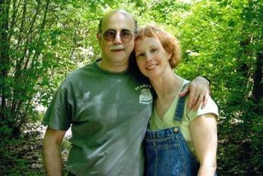 David Israel and Linda Matchan on a hike in the woods around 2005.
