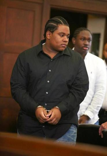 Raeshawn Moody (left) and Du'Shawn Taylor-Gennis are accused of ambushing Jonathan Dos Santos.