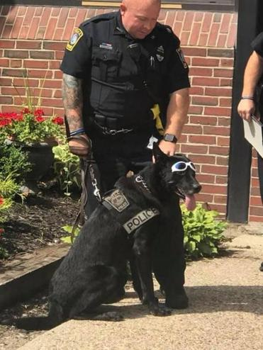 Officer John Mercer and K-9 Kenny at Saturday's retirement ceremony.