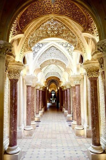 One of the highly detailed interiors of Montserrate Palace in Sintra, Portugal