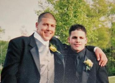 FOR SPOTLIGHT PROJECT ONLY -Aaron Hernandez and Dennis SanSoucie before the junior prom at Bristol Central High School.